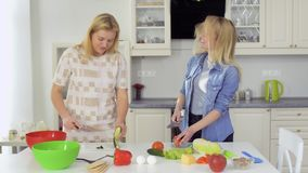 Two pretty girls cuts vegetables for salad at the kitchen. Two young girlfriends spend their leisure time together and cooking a fresh salad at the kitchen at stock video