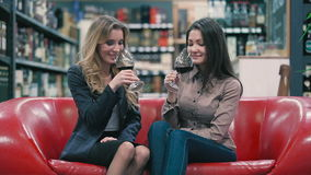 Two pretty girls degustating the red wine in the shop. Beautiful blonde and brunette sitting on the sofa in the shop. They holding a glasses with red wine in stock video