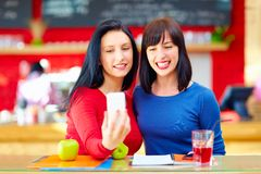Two pretty girls, friends taking selfie on smart phone, while sitting in cafe Royalty Free Stock Image