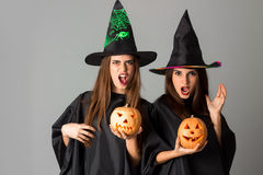 Two pretty girls in halloween style Stock Photography