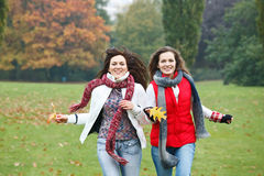 Two pretty girls having fun. In autumn park Stock Images