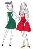 Two pretty girls. Illustration of two pretty girls Royalty Free Stock Photography