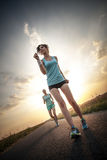 Two pretty girls jogging Stock Photography