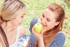 Two pretty girls during picnic Stock Images