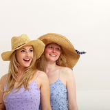 Two pretty girls strolling in the sun together Royalty Free Stock Photo