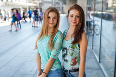 Two pretty girls. They're best friends. Outdoor photo. Stock Photography