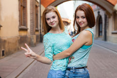 Two pretty girls. They're best friends. Outdoor photo. Stock Images