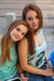 Two pretty girls. They're best friends. Outdoor photo. Stock Image