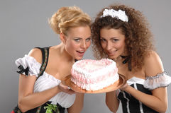 Two pretty girls waitress Royalty Free Stock Images