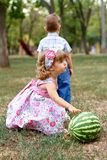 Two pretty kids with watermelon Royalty Free Stock Photo