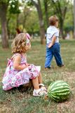 Two pretty kids with watermelon Royalty Free Stock Images