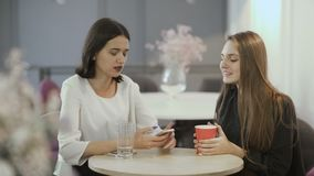 Two pretty ladies dicussing something sitting at table in cafe. Young attractive workers sit in the co-working space at the table. Handsome women sit at the cafe stock footage