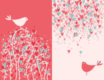 Two pretty love birds. Valentine's day greeting card with two pretty love birds. Vector illustration royalty free illustration