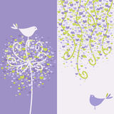Two pretty love birds and flowery branches. Royalty Free Stock Photography