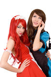 Two pretty servant girls Stock Photos
