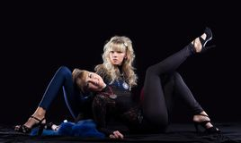 Two pretty sisters in lace costume Royalty Free Stock Images