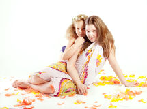 Two pretty sisters posing. Royalty Free Stock Photo