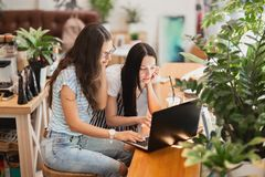 Two pretty slim girls with long dark hair,wearing casual style,sit at the table and look attentively at the laptop stock images