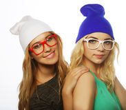 Two pretty teen girlfriends smiling and having fun Royalty Free Stock Photos