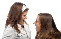 Two pretty teenage girls laughing and talking. Isolated on the white background royalty free stock images