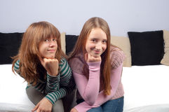 Two pretty teenage girls smiling Stock Images