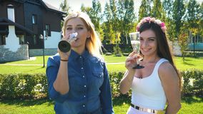 Two pretty woman, having fun at b day celebrating,Drinking champagne. stock video