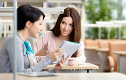 Two pretty women communicate sitting at the desk Stock Photos