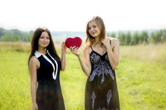 Two pretty women with red heart in sunshine summer field Royalty Free Stock Image