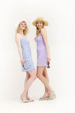 Two pretty young friends ready to go shopping Stock Photos