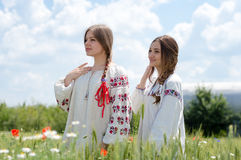 Two pretty young happy women in traditional ukrainian dress in wheat field Royalty Free Stock Photo