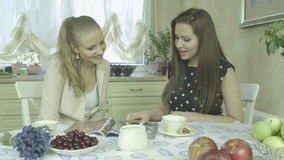 Two pretty young smiling girl friends having relaxing time at dining table. Portrait of two smiling young women having relaxing time at dining table.  Two stock video