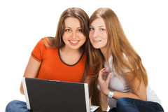 Two pretty young student girls Royalty Free Stock Images