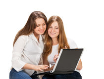 Two pretty young student girls Royalty Free Stock Photo