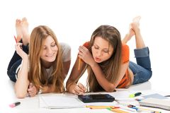 Two pretty young student girls Stock Photo