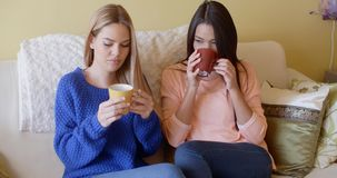 Two pretty young women enjoy a relaxing coffee. Together as they sit side by side on a sofa in the living room stock footage