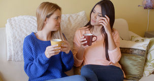 Two pretty young women enjoy a relaxing coffee royalty free stock photos