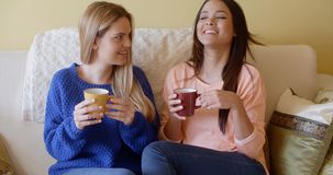 Two pretty young women enjoy a relaxing coffee. Together as they sit side by side on a sofa in the living room stock video footage