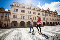 Two pretty, young women sightseeing in Prague Royalty Free Stock Photo