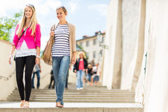Two pretty, young women sightseeing in Prague Royalty Free Stock Photography