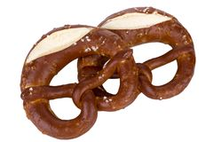 Two Pretzel on white background Royalty Free Stock Images