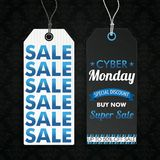 Two Long Price Stickers Cyber Monday Super Wallpaper. Two price stickers for cyber monday on the dark background with ornaments Stock Image