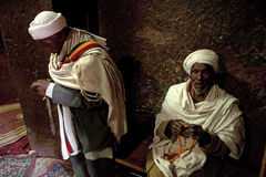 Two Priests praying, Lalibela Stock Photography