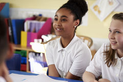 Two primary school girls in class, close up Royalty Free Stock Image
