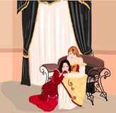 Two princess. Vector illustration of two young girls in baroque interior Stock Photo