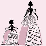Two princess. Decorative illustration of two princess silhouettes, made with elements hand drawn monograms Royalty Free Stock Image