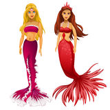 Two Princess mermaid blonde and redhead Royalty Free Stock Photo