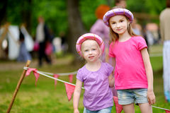 Two princesses having fun outdoors Royalty Free Stock Photo