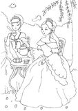 Two Princesses Having Tea Coloring Sheet. Line illustration suitable as coloring sheet for children. Check out my portfolio for more coloring pages with the same Royalty Free Stock Image