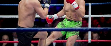 Two professional boxer boxing . Fight sport stock photos