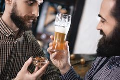 Two professional brewers select hops for making beer. Bearded brewer is holding glass of beer. royalty free stock photography